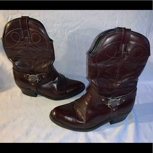 Harley Davidson Brown leather cowboy boots